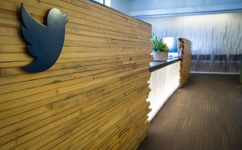 twitter office wall with logo