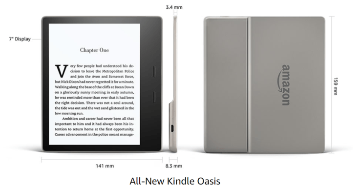 Kindle Oasis 2017 Dimensions