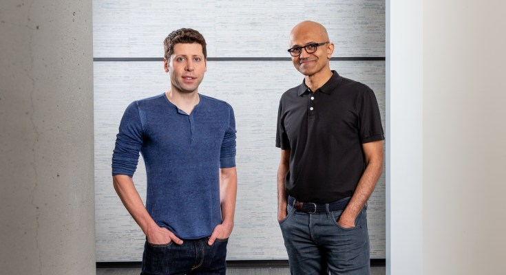 Microsoft CEO Satya Nadella and OpenAI CEO Sam Altman at the Microsoft campus in Redmond, Wash. on July 15, 2019. (Photography by Scott Eklund/Red Box Pictures)