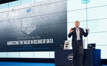 Rob Crooke, Intel senior vice president and general manager of Non-Volatile Memory Solutions Group, shares Intel's vision and strategy in Memory and Storage to global press at the Intel Memory/Storage day on Thursday, Sept. 26, 2019, in Seoul, South Korea. (Credit: Intel Corporation)