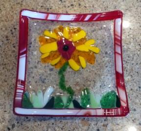 Glass Sunflower Dish on Counter