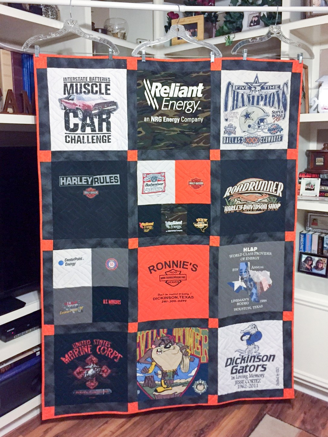Memory Quilt made from a deceased brother's clothing