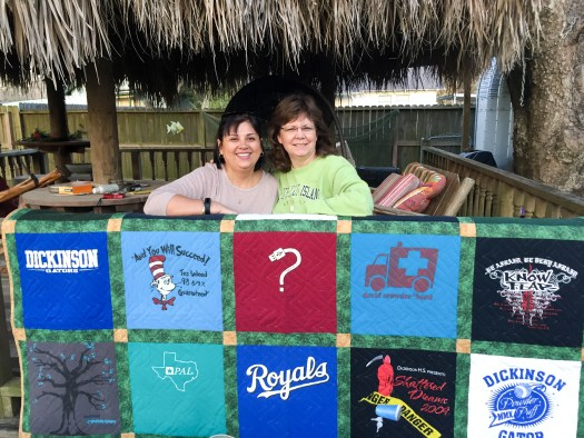 The Quilt Rambler, t-shirt quilt made from high school spirit shirts, Dickinson High Schoo