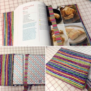 Colorful fabric book cover surrounds a cookbook