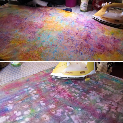 Photo shows two different fabrics, one is Island Batik fabric used for the top of a project and the other is hand dyed fabric by karen Overton for the backing of an Easter project