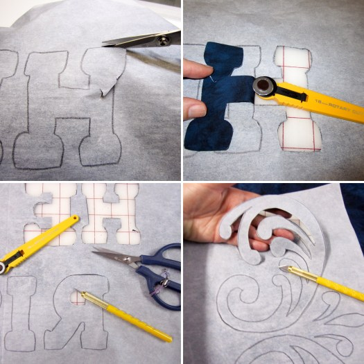 Photo collage showing multiple cutting tools used to cut out fabric with a raw edge reverse appliqué method