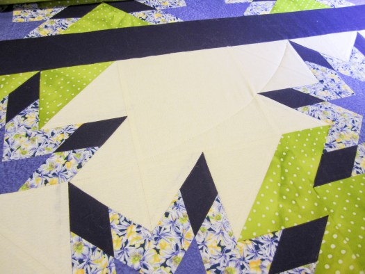 photo shows quilting process