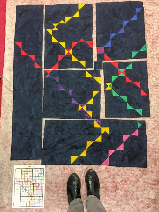 sections pieced and laid out for modern quilt