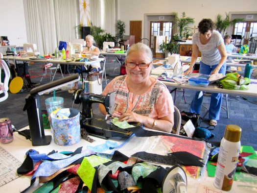 quilting student in workshop