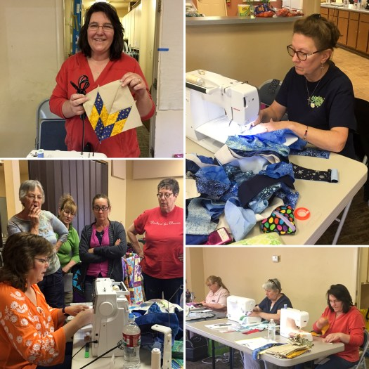 collage photo shows students in a quilting class