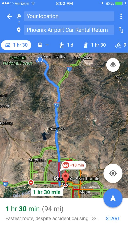 map showing route from Prescott Valley to Phoenix