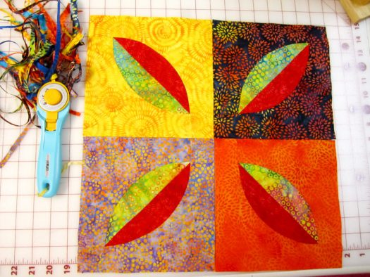 quick sewing of curved pieced melon blocks