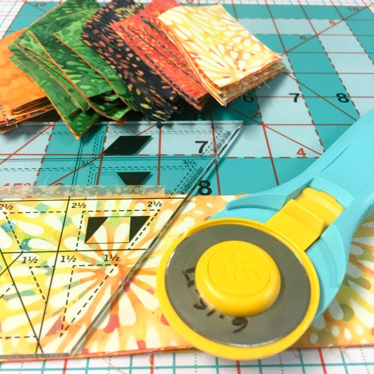 Cutting diamonds for Baby Quilt