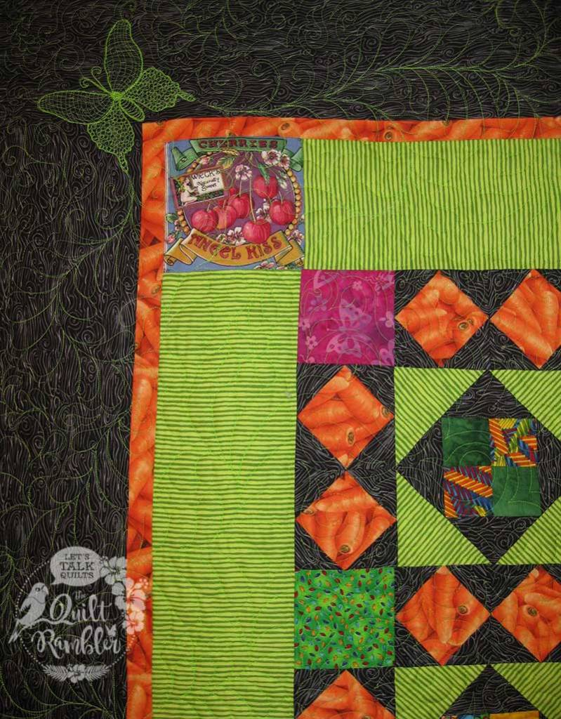 Close up of My Dangling Carrot Quilt made by Karen E Overton 2008