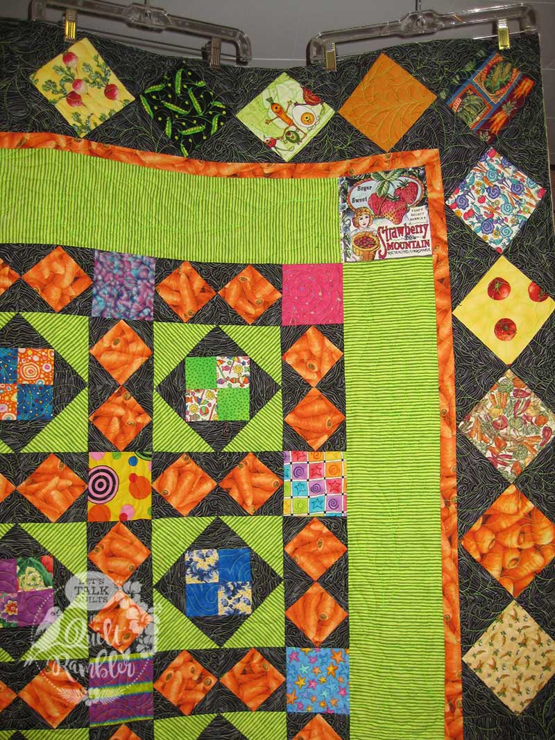 My Dangling Carrot Quilt included other veggie fabrics donated by online friends