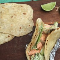 Jamie Oliver's Salmon Tacos with Avocado and a Quick Cucumber Pickle