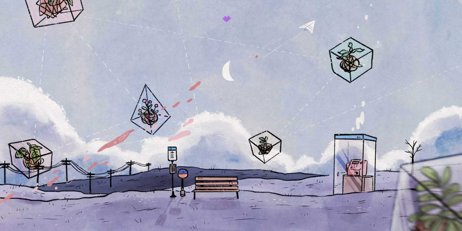 Illustration of an outdoor scene depicting relationships between objects relevant to BTS