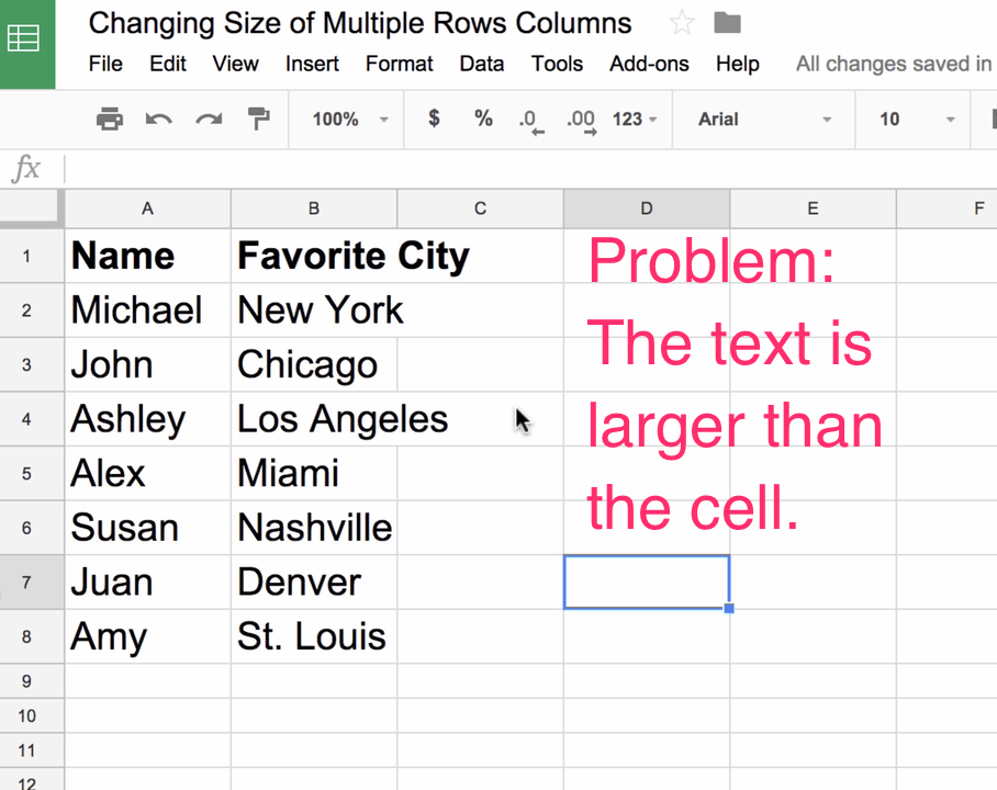 How to Adjust Size of Multiple Rows and Columns Evenly in