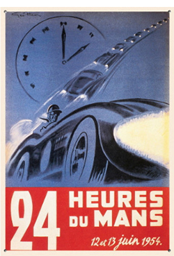 lemans 1954 art poster from the lemans museum