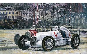 1935 Monaco GP Mercedes-Benz W25 #4 L. Fagioli winner motorsport art by yuriy shevchuk