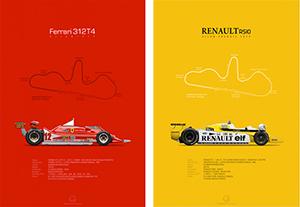 Ferrari 312T4 & Renault RS10 Dijon-Prenois 1979, poster art by Last Corner