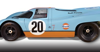 hammacher gulf porsche slot car set - Gulf collectibles