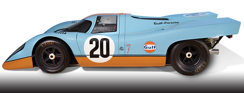 hammacher gulf porsche slot car set - Gulf collectibles