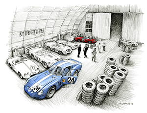 Sebring 1962–The Night Before motorsport art by Paul Chenard
