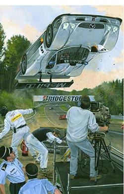 """""""silver aero"""" motorsport art by roger warrick"""