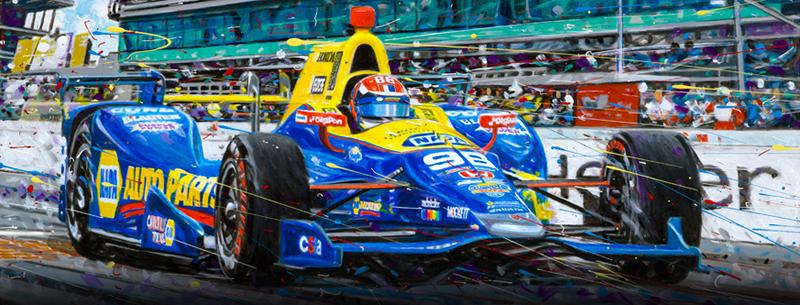Rossi Indy -motorsport art by Randy Owens
