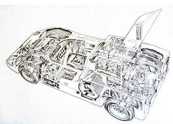 chaparral 2f shell drawing in motorsport art by shin yoshikawa