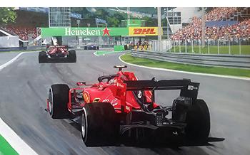 Ferrari Leclerc Monza motorsport art by simon ward