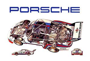porsche 935 cutaway poster