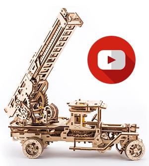 wood fire truck mechanical models by UGears