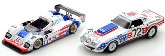 Red, white & blue 1/43 models courage and corvette
