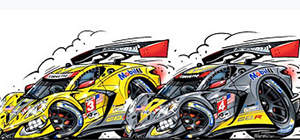 c8r car-toon corvette racing art by roger warrick