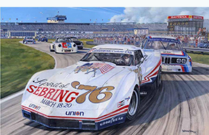 greenwood corvette racing art by roger warrick
