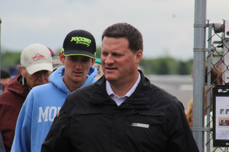 NASCAR's Steve O'Donnell leaves the drivers meeting for the 2018 Pocono 400. (Tyler Head | The Racing Experts)