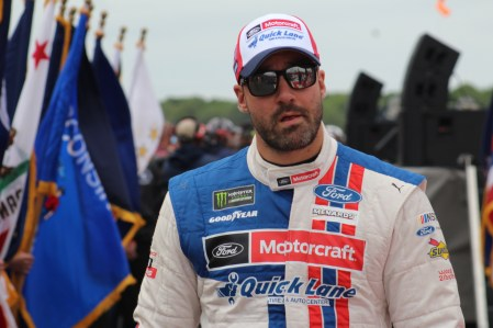 Paul Menard walks during driver introductions for the 2018 Pocono 400. (Tyler Head | The Racing Experts)