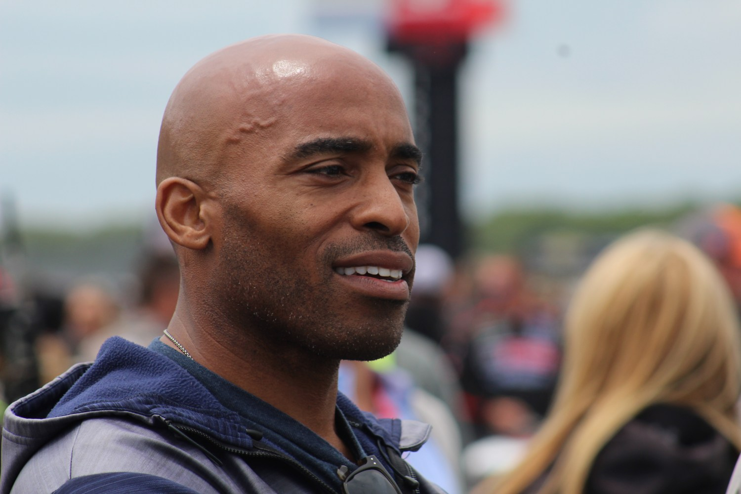 Tiki Barber on pit road ahead of the 2018 Pocono 400. (Tyler Head   The Racing Experts)