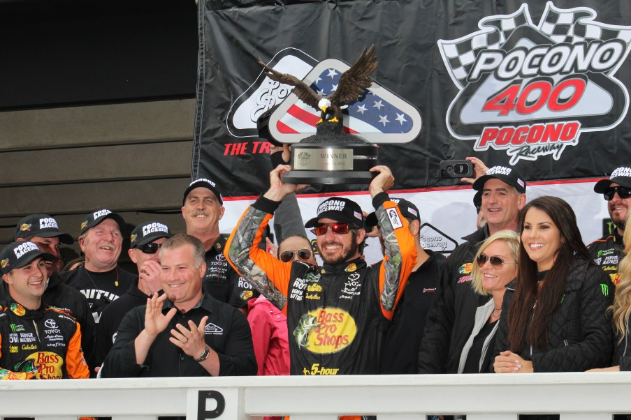 Martin Truex Jr. celebrates his Pocono 400 victory. (Tyler Head | The Racing Experts)