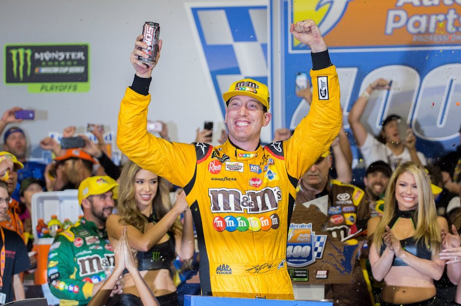 Kyle Busch celebrates in Victory Lane after winning the Federated Auto Parts 400 at Richmond Raceway. Photo: Austin McFadden | The Racing Experts