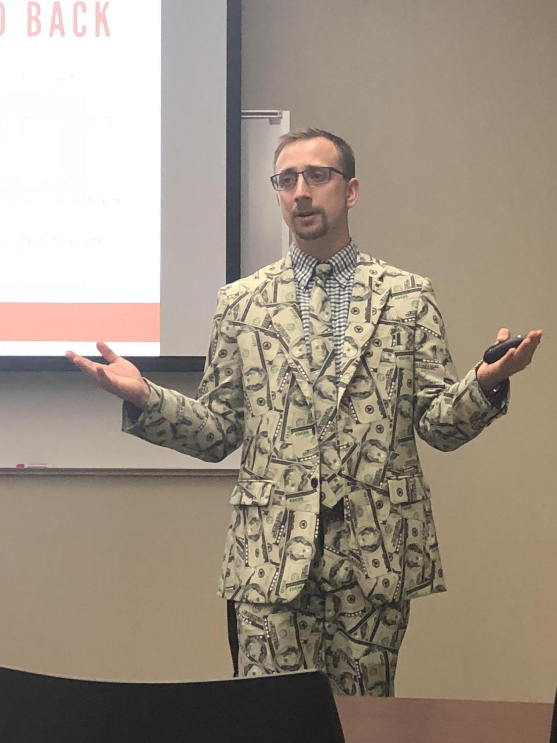 Scholarship Coordinator Joshua Bonnell educated students on the importance of applying for scholarships Thursday evening.