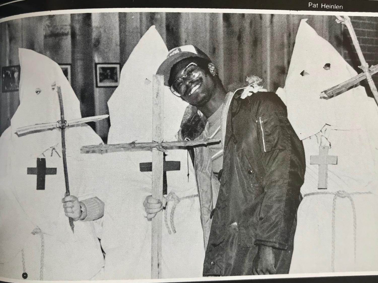 UWL students dress up as KKK members for Halloween. Image retrieved from UWL's 1979 Yearbook.