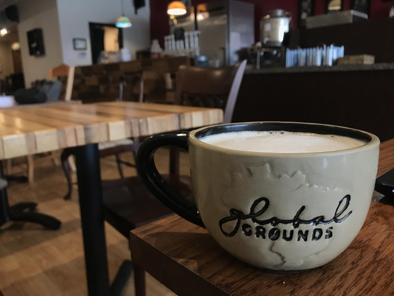Global Grounds mug. Photo by Karley Betzler.
