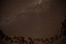 The spires behind the Refugio basking in Milky Way light