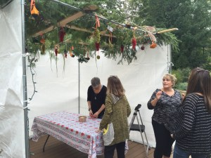 Sukkah decorating
