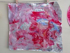 Fireworks - dish soap and paint on foil