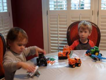 Making art with Jack, and trucks!