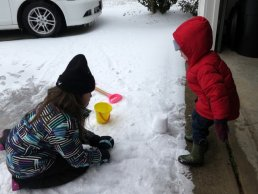 Making a snow fort with Grayson.